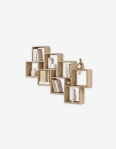 Lauri - Mensola da muro in legno laminato, composta da 8 ripiani grandi e da 3 ripiani piccoli