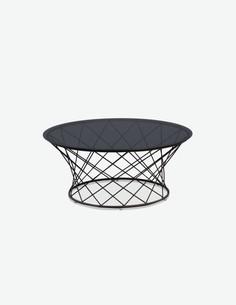 Fabio - Tavolo da soggiorno rotondo in metallo, nero / grigio