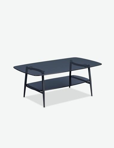 Larissa - Tavolino da soggiorno in metallo e vetro, moderno e robusto