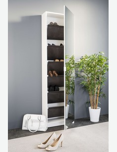 Sumatra - Schuhschrank mit Spiefelfront, bietet 6 innere Fächer, aus Holzdekor