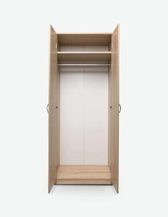 Keran - Kleiderschrank aus Holzdekor mit 2 Drehtüren, 1 Kleiderstange und 1 obere Ablage