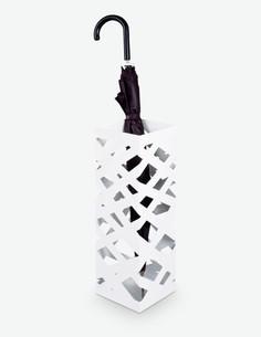 Pop 3 - Schirmständer mit Abtropfschale, aus Metall, weiß