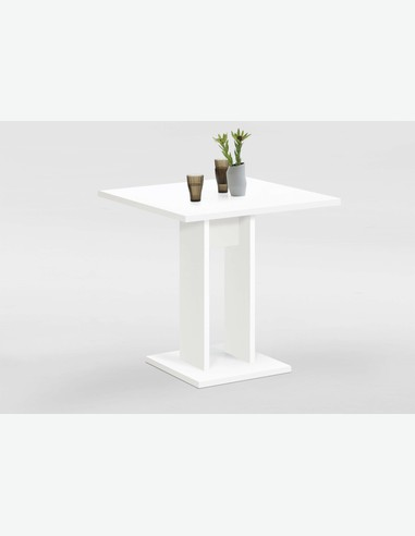 Bandulo 1 - Säulentisch aus weißem Holzdekor, Tischplatte in verschiedenen Farben verfügbar