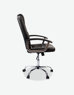 Montivo - Sedia girevole da ufficio in similpelle nera, con schienale imbottito