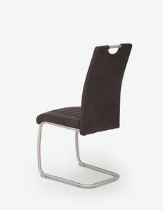 Ulli - Schwingstuhl aus Kunstleder mit weißer Naht, Metallgestell verchromt