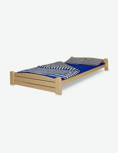 Thorsten - Letto singolo in legno di pino laminato, colorazione naturale. Struttura robusta e resistente