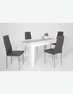 Lilia - Tavolo da pranzo in legno laminato bianco, con piedi angolati