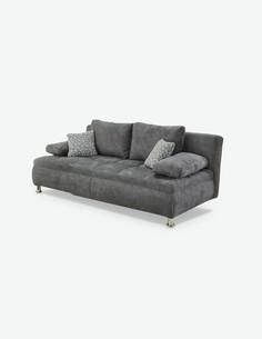 Anto - Sofa aus dunkelgrauem Mikrofaser mit Schlaffunktion und integriertem Bettkasten