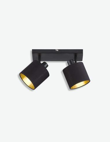 Teo - Faretto girabile con 2 luci a LED, in metallo di colore nero opaco, con paralume in tessuto nero / dorato