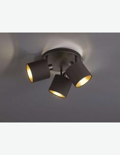 Teo - Faretto girabile con 3 luci a LED, in metallo di colore nero opaco, con paralume in tessuto nero / dorato