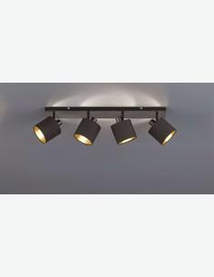 Teo - Faretto girabile con 4 luci a LED, in metallo di colore nero opaco, con paralume in tessuto nero / dorato