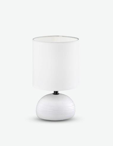 Lunea - Tischleuchte mit Keramikfuß und weißen Stoffschirm