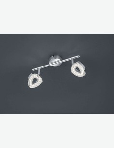 Tours - Faretto doppio a LED ruotabile e girabile, in metallo con paralume acrilico