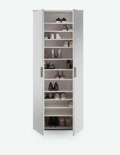 Lindo - Schuhschrank aus Holzdekor in weiß glanz