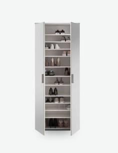 Lindo - Schuhschrank aus Holzdekor mit Spiegeltüren