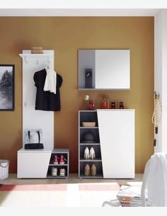 Luanda - Specchio da guardaroba in laminato bianco / grigio