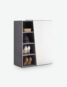 Luanda - Schuhkommode aus Holzdekor, weiß / grau
