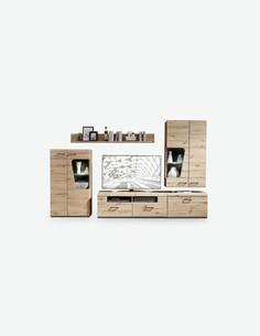 Karina - Moderne und elegante Wohnwand aus Holzdekor in der Farbe Artisan Eiche