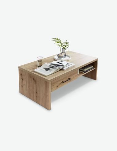 Karina - Tavolino da soggiorno in legno laminato di colore quercia artigianale