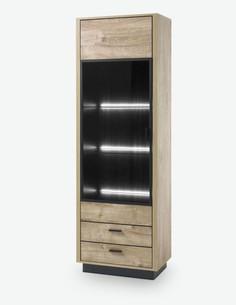 Vidina - Vetrina in legno laminato, colore in quercia Ribbeck / ner