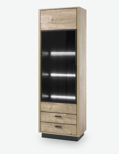 Vidina - Vitrine aus Holzdekor, Farbe in Eiche Ribbeck / schwarz