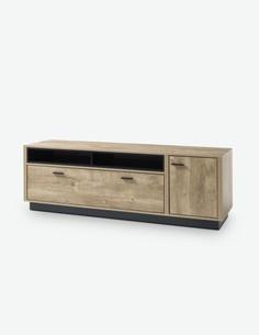 Vidina - TV Möbel aus Holzdekor, Farbe in Eiche Ribbeck / schwarz