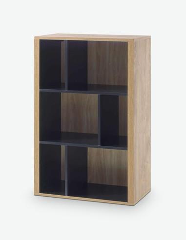 Vidina - pensile da muro in legno laminato, colore di quercia Ribbeck / nero
