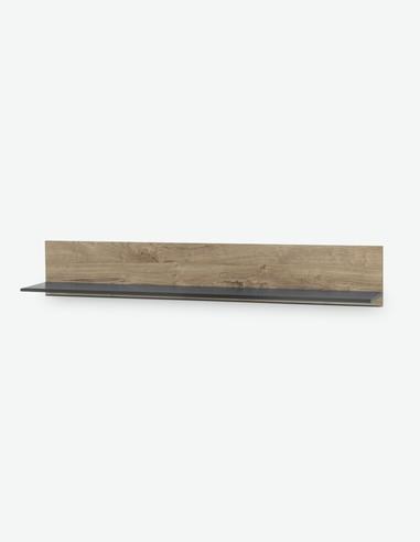 Vidina - Mensola da muro in legno laminato, colore di quercia Ribbeck / nero