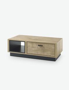 Vidina - tavolino da salotto in legno laminato, colore di quercia Ribbeck / nero