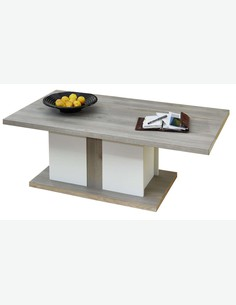 Melania - Tavolino da soggiorno in legno laminato color quercia d'argento / bianco