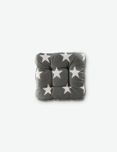 Sala - Sitzkissen grau / weiß mit Sternenmotiv