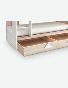 Miko - Etagenbett aus Eiche Sonoma / weiß Dekor mit integriertem Bettschubkasten