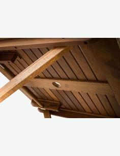 Malvi - Tavolo pieghevole da giardino / balcone, in legno massiccio