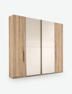 Ronco - Kleiderschrank mit Dreh- und Schwebetüren aus Holzdekor in Eiche Sonoma / weiß
