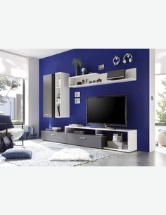 Vision - Wohnwand mit 1 Tür, 5 offene Fächer und 2 Schubkästen, aus Holzdekor in der Farbe grau / weiß