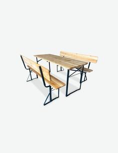 Lima - Set birreria - 1 tavolo e 2 panchine con schienale