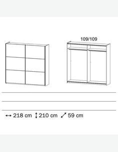 Odlo - Schwebetürenschrank aus Holzdekor in grau metallic / Eiche wotan