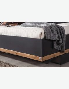 Bison - Fusto letto con comodini compresi, in legno laminato di colore grigio metallizzato / quercia Wotan