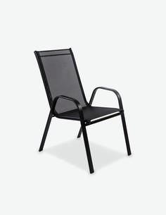 Piola - Stapelbarer Stuhl, aus schwarzem Metall. Ideal für den Außenbereich, witterungsbeständig und sehr robust