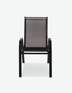 Piola - Sedia impilabile con poggiabraccia, in metallo nera. Ideale per l'esterno ed é resistente alle intemperie