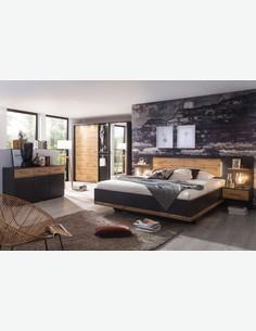 Bison - Kommode aus Holzdekor in grau metallic / Eiche Wotan mit 2 Türen und 6 Schubkästen