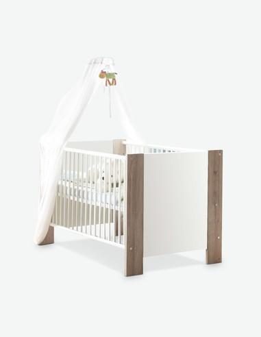 Katia - Culla per neonati in legno laminato, di colore bianco opaco / quercia San Remo chiara