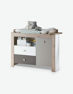 Katia - Fasciatoio per neonati in legno laminato, di colore bianco opaco / quercia San Remo chiara