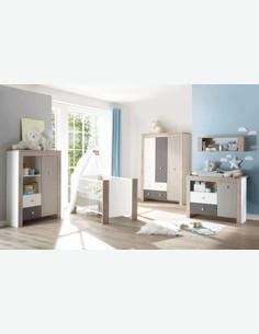 Katia - Babyzimmer-Schrank aus Holzdekor