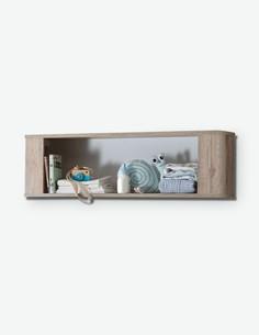 Katia - Mensola da muro in legno laminato, di colore bianco opaco / quercia San Remo chiara