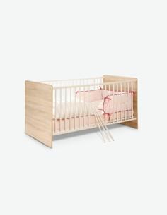 Werni - Babybett aus Holzdekor mit 2-Fach höhenverstellbarem Lattenrost inklusive, in Eiche Sonoma / weiß