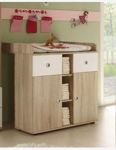 Werni - Fasciatoio per neonati in legno laminato, di colore quercia Sonoma / bianco