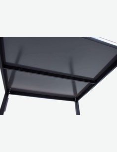 Sedico - Tisch aus schwarzem Metall mit grauer Glasplatte