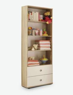 Werni - Standregal mit 2 Schubkästen und 3 Ablageböden, aus Holzdekor in der Farbe Eiche Sonoma / weiß