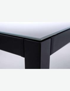 Zeno big - Set da giardino in metallo e vetro composto da un tavolo grande e quattro sedie impilabili
